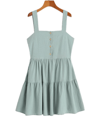 [33% OFF] [POPULAR] 2020 ZAFUL Casual Half Buttoned Straps Mini Dress In CYAN OPAQUE | ZAFUL Europe