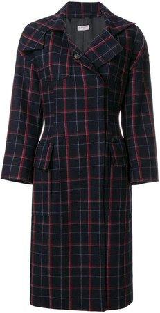 plaid concealed button coat