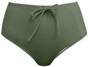 Bower - Kit Drawstring High Waist Bikini Briefs - Womens - Dark Green