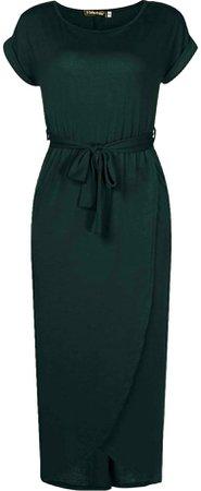 Green high-low tie waist