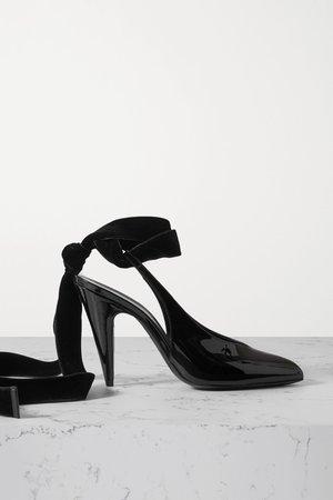 Black Velvet-trimmed patent-leather slingback pumps   SAINT LAURENT   NET-A-PORTER