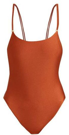 Reel Double Strap Swimsuit - Womens - Dark Red
