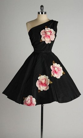 Vintage black and attaché floral cocktail dress. | Fun & Funky Fashion in 2019 | Dresses, Vintage 1950s dresses, Vintage outfits