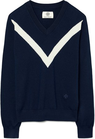 Chevron Stripe Merino Wool V-Neck Sweater