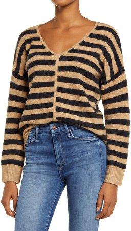 Bobble Stripe V-Neck Sweater