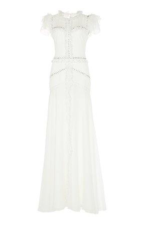 Jenny Packham Jasmine Chiffon Cap-Sleeve Gown