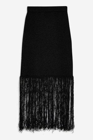 **Fringe Knit Skirt by Boutique | Topshop black