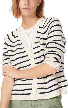Stripe V-Neck Cardigan