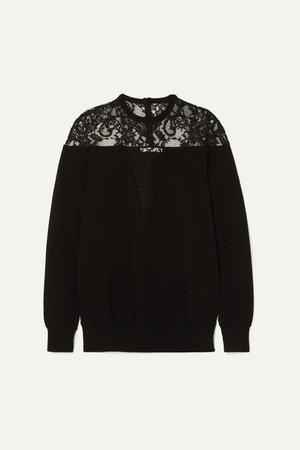 Givenchy | Strickpullover mit Spitzeneinsatz | NET-A-PORTER.COM