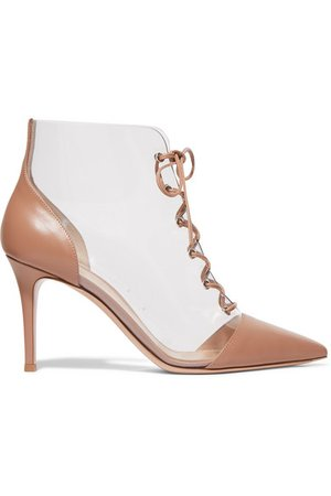 Gianvito Rossi | 85 leather and PVC ankle boots | NET-A-PORTER.COM