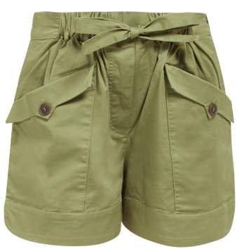 Tula Drawstring Waist Cotton Blend Shorts - Womens - Khaki