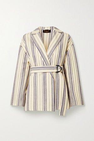 Ecru Belted striped cotton-blend jacket | Loro Piana | NET-A-PORTER