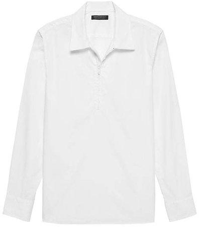 JAPAN EXCLUSIVE Oversized Luxe Poplin Half-Zip Shirt