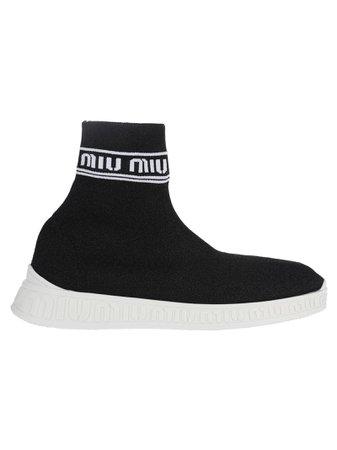 Miu Miu Miu Run Knit High Top Sneakers