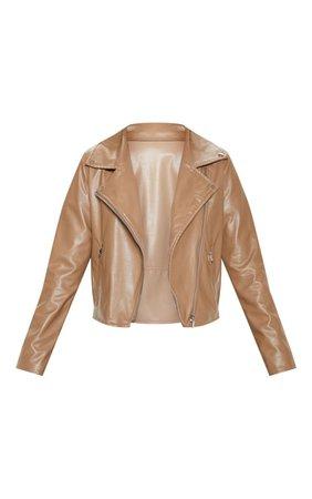 Mocha Pu Zip Biker Jacket | Coats & Jackets | PrettyLittleThing