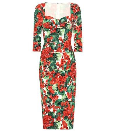 Floral stretch crêpe midi dress