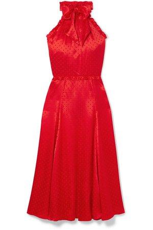 ALEXACHUNG   Polka-dot silk-blend jacquard dress   NET-A-PORTER.COM