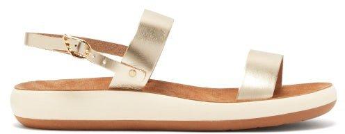 Clio Comfort Leather Sandals - Gold