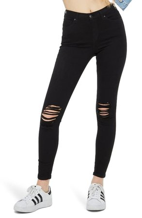 Topshop Moto Jamie High Waist Ripped Black Jeans (Regular & Petite) | Nordstrom