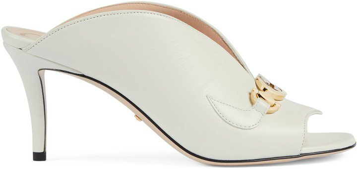 Zumi leather mid-heel slide sandal