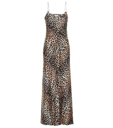 Leopard-printed silk slip dress