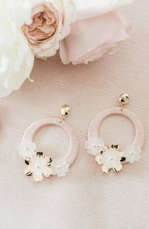 Rachel Parcell Flower Hoop Drop Earrings (Nordstrom Exclusive) | Nordstrom