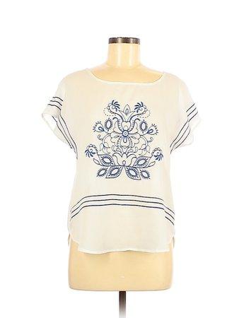 Blu Pepper 100% Polyester White Short Sleeve Blouse Size M - 48% off   thredUP