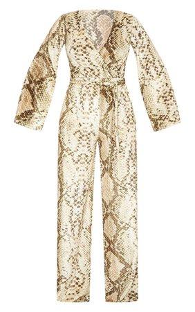 Snake Print Velvet Tie Waist Jumpsuit | PrettyLittleThing