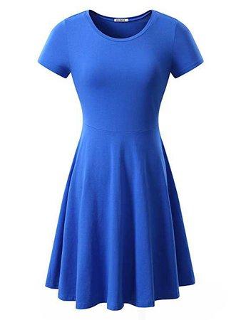 HUHOT Women Short Sleeve Round Neck Summer Casual Flared Midi Dress at Amazon Women's Clothing store: