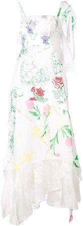 Floral Print Layered Asymmetric Slip Dress