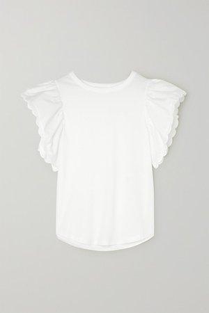 See By Chloé | Bluse aus Baumwoll-Jersey und -popeline mit Wellenkanten | NET-A-PORTER.COM