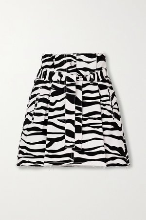 White Belted frayed zebra-print denim mini skirt | The Attico | NET-A-PORTER