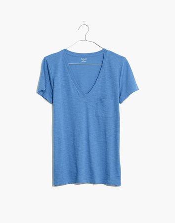 Whisper Cotton V-Neck Pocket Tee blue