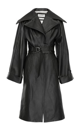 SITUATIONIST Collared Belted Leather Trench Coat