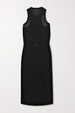 Rower Belted Lyocell Midi Dress - Black