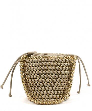 Fashionville.com - Handbags - Street Level Cream Chain Bucket Handbag