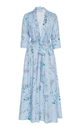 Luisa Beccaria Belted Floral Midi Dress