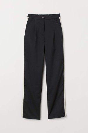 Pants with Side Stripes - Black