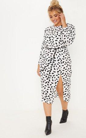 Plus White Tie Waist Dalmatian Dress | PrettyLittleThing