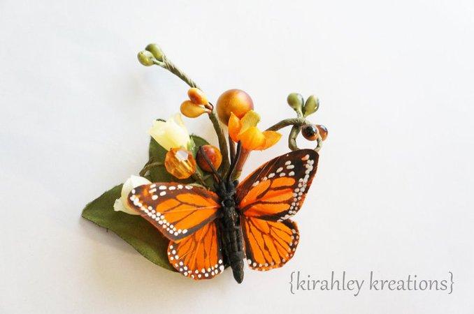 Monarch Butterfly Hair Clip Orange Wedding Bride Bridal Bug | Etsy