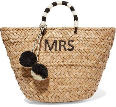St Tropez Pompom-embellished Embroidered Woven Straw Tote - Black