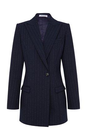 Anna Quan Sienna Pinstriped Crepe Blazer Size: 10