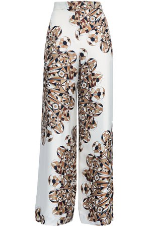 Printed silk-twill wide-leg pants | TORY BURCH | Sale up to 70% off | THE OUTNET