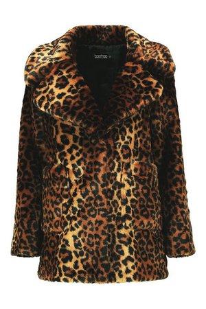 Leopard Faux Fur Coat | Boohoo brown