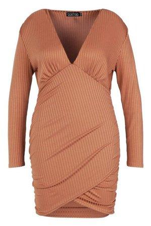 Plus Rib Plunge Rouched Midi Dress | Boohoo