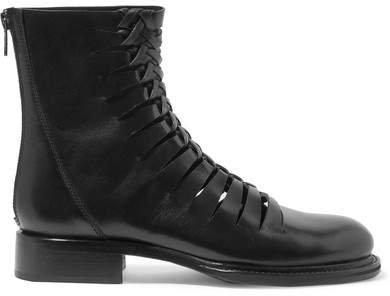 Cutout Leather Ankle Boots - Black