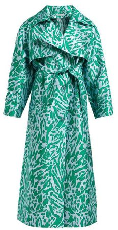 Leopard Jacquard Trench Coat - Womens - Green Multi