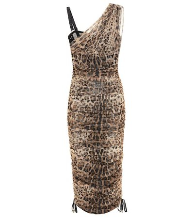 Leopard cotton and silk dress