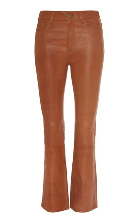 FRAME Cropped Leather Flared Pants Size: 24