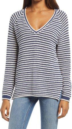 Maia Stripe V-Neck Sweater